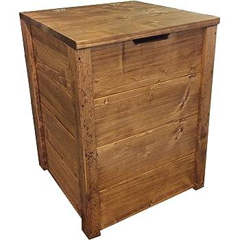 Baúl de madera 45 x 45 x 60 cm Nogal oscuro.: Amazon.es: Jardín
