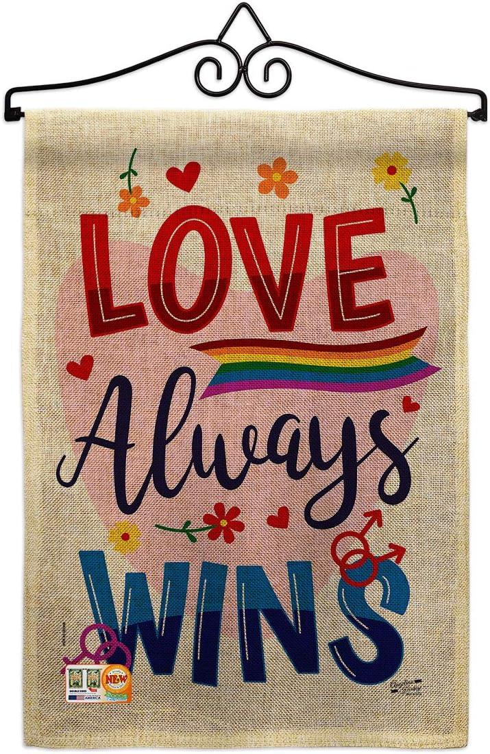 オーバーのアイテム取扱☆ Inspirational Love 新作 大人気 Always Wins Burlap Wall Hange Flag Garden Set