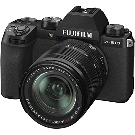 Fujifilm X-S10 Mirrorless Camera Body with XF18-55mm Lens (APS-C X-Trans CMOS 4 Sensor, EVF, IBIS, Vari-Angle LCD Touchscreen, Face/Eye AF, 4K/30P & FHD/240P Video Vlogging, Film Simulations) - Black
