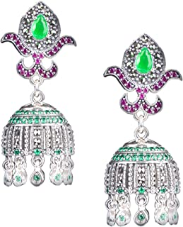 DARSHRAJ 925 Silver Valentine Sterling Silver and Zircon Jhumki Earrings for Women & Girls, Golden, Pink & Silver
