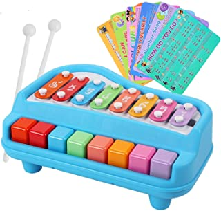 Rainbow yuango 2 in 1 Piano Xylophone for Kids Multicolored 8 Keys Mini Percussion Glockenspiel Instrument with Music Cards(Blue)