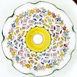 Lampadario Traforato diametro 25 centimetri Linea Fiori Misti Bordo Verde Ceramica Le Ceramiche del Castello Pezzo Unico H...