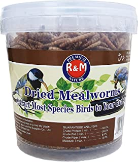 Dried Mealworms, Meal worms High-Protein Treats for Birds, Chickens, Turtles, Fish, Hamsters and Hedgehogs All Natural Ani...