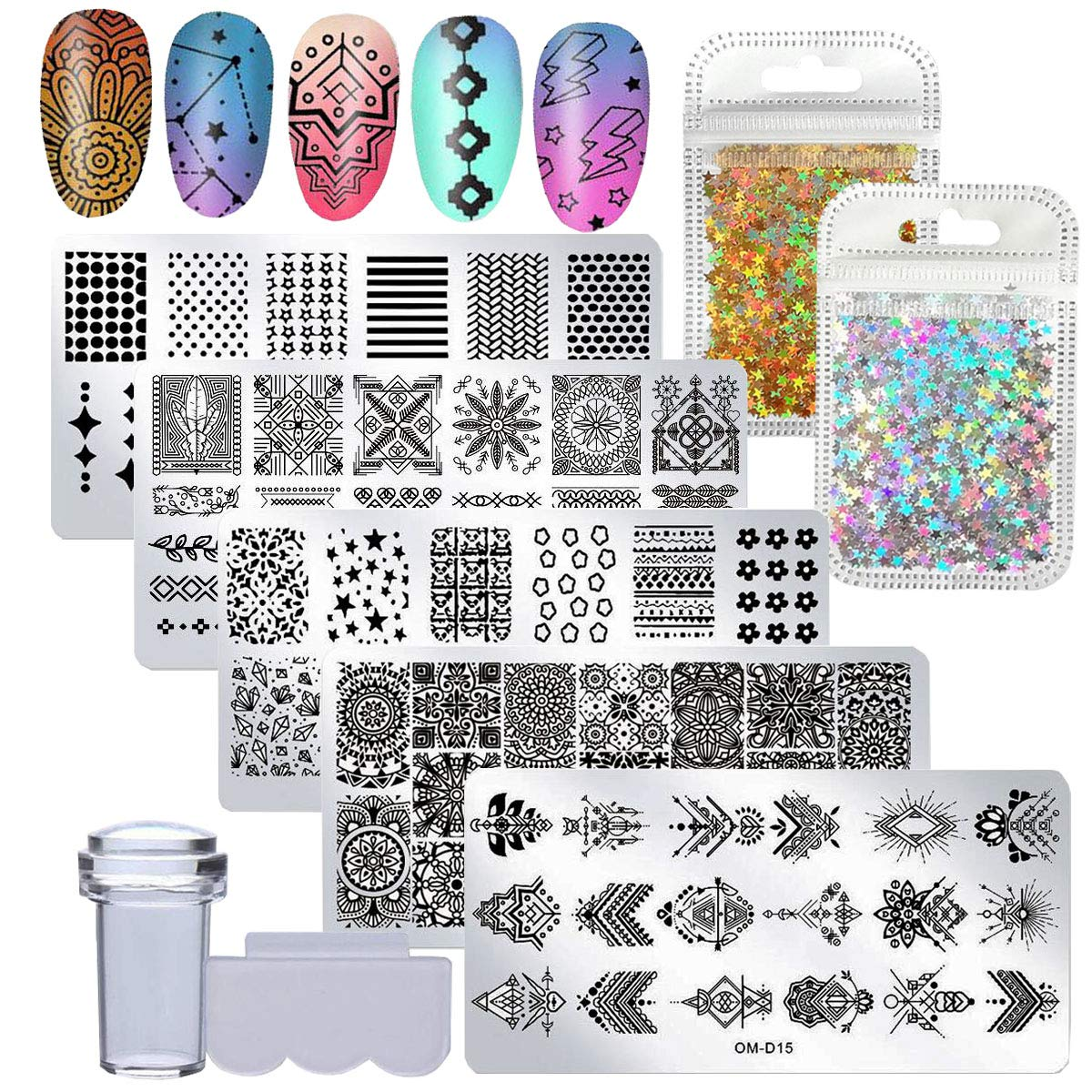 Nail Art Stamping Kit Geometric Flower Mandala Image Nail Stamping Plate Clear Nail Stamper Scaper with Holographic Gold Silver Star Nail Glitter Flakes(Star)