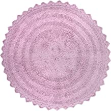 "DII 100% Cotton Crochet Round Luxury Spa Soft Bath Rug, for Bathroom Floor, Tub, Shower, Vanity, and Dorm Room, 28"" - Mauve"
