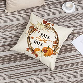 GTEXT Fall Sweet Fall Throw Pillow Cover Pumpkin Bird Maple Leaves Pillow Cover Autumn Decor Pillow Cover 18x18 inch Outdoor Pillow Linen Square Pillow Cover for Couch Cushion,Sofa Fall Pillow Cover