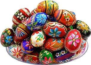 Set of 3 Polish Easter Handpainted Wooden Eggs (Pisanki) Wielkanoc [Kitchen]