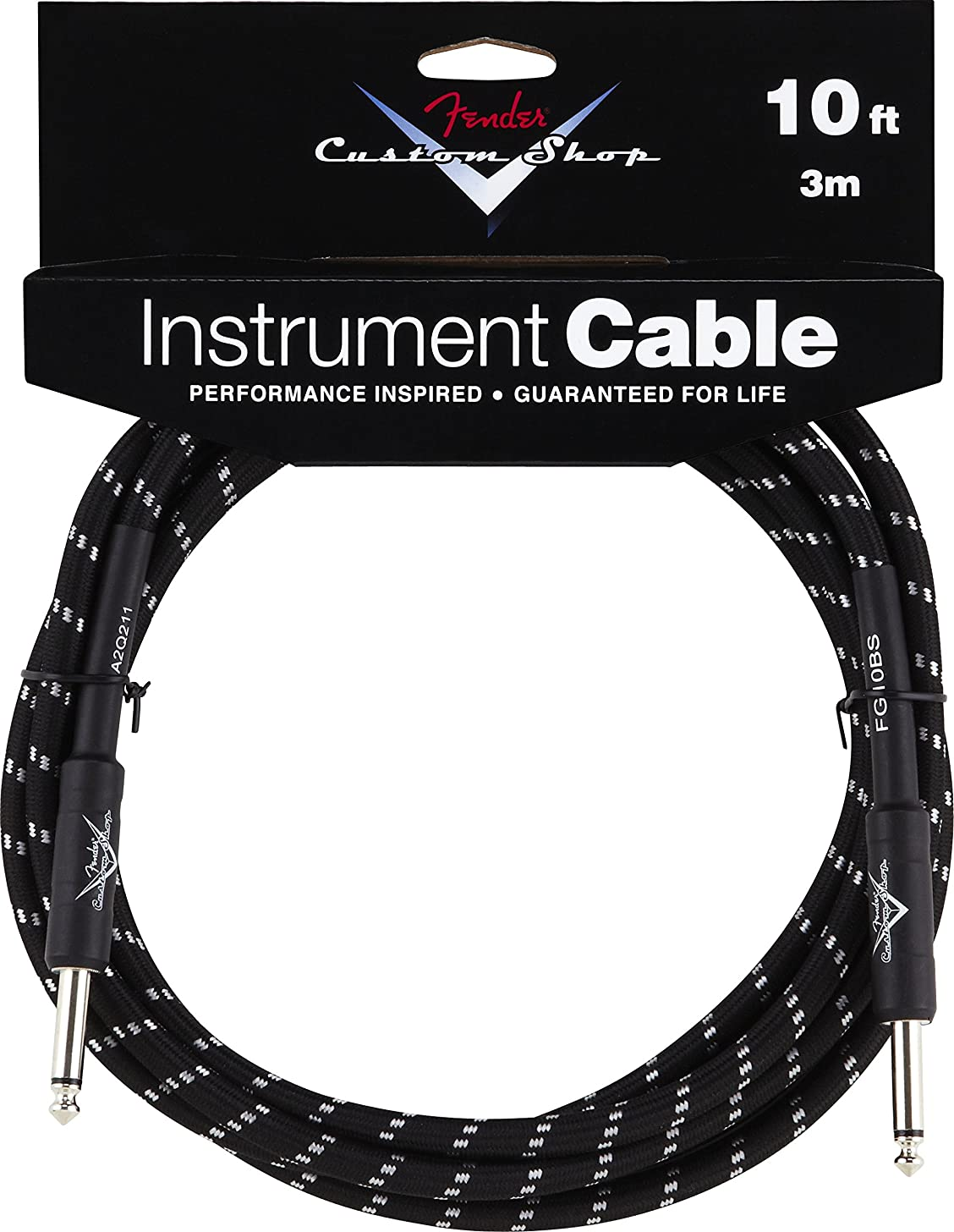 Fender Custom Shop Performance Series Cable (Straight-Straight Angle) for electric guitar, bass guitar, electric mandolin, pro audio