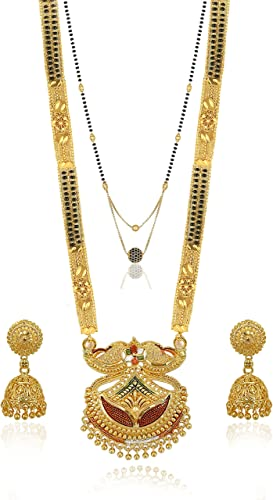 Traditional Necklace Pendant Gold Plated Hand Meena 30inch Long and 18inch short with 2 inch Earring Set Combo Of 2 Mangalsutra Tanmaniya nallapusalu Black Beads For Women and Girls