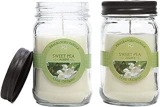 Hosley Set of 2 Sweet Pea Jasmine Scented Mason Jar Candles 11 Ounce Each. Ideal Votive Gift for Party Favor Weddings Spa Reiki Meditation Bathroom Settings. O5