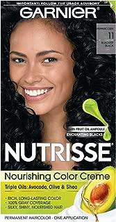 Garnier Nutrisse Nourishing Hair Color Creme, 11  Blackest Black  (Packaging May Vary)