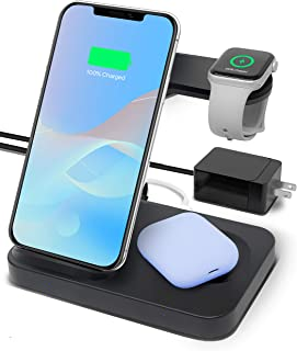 OCOMMO 3 in 1 Wireless Charging Station for Multiple Devices, Airpods, Apple Watch 5,4,3,2,1, iPhone 11, 11 Pro, 11 Max Pro, XS Max, XR, Samsung Phones, Watches (UL QC 3.0 Adapter Included)