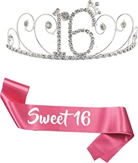 "B4MBOO16th Birthday Tiara and Sash   Happy 16th Birthday Party Supplies   ""Sweet 16"" Pink Satin Sash and Crystal Rhinestone Tiara Birthday Crown   16th Birthday Party Decoration Kit"