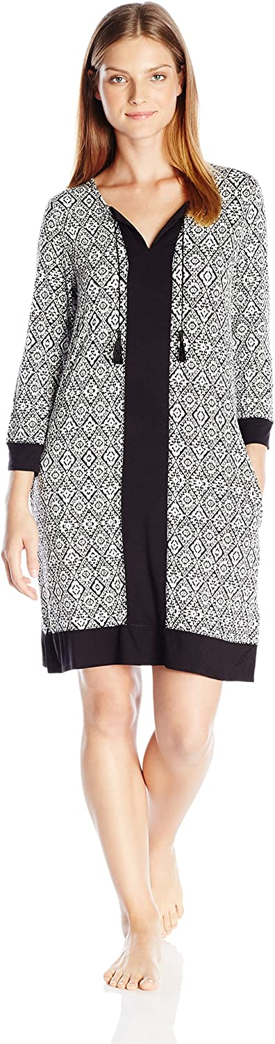 Ellen Tracy Womens Short Long Sleeve Tunic Nightgown
