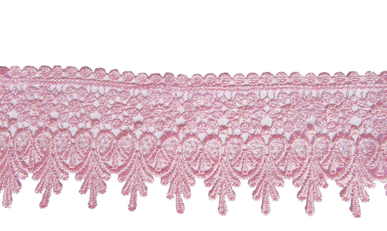 YYCRAFT 5 Yards Pink Lace Edge Trim Wedding Applique DIY Sewing Crafts(Width:3.5 Inch Pink)