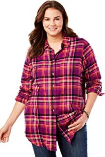 Woman Within Women's Plus Size Classic Flannel Shirt