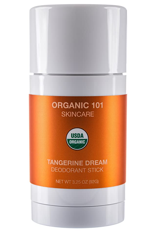 ORGANIC 101 Tangerine Dream USDA Certified, All Natural, Extra-Strength Deodorant No Aluminum, Parabens, Other Toxic Chemicals, Stay Clean, Smell Fresh (3.25oz, Satin Orange)