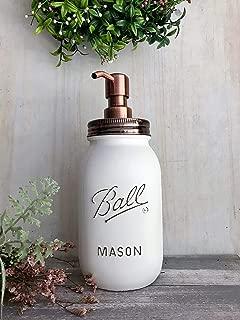 Distressed White Quart Jar with Rust Proof Copper Soap Pump Dispenser Lid