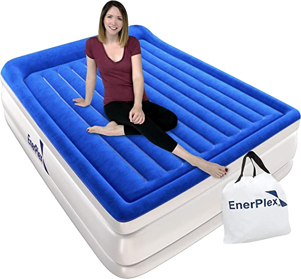 EnerPlex Custom Beam Queen Air Mattress With Built In Pump Luxury Pillow Top Airbed Queen Size Raised Double High Elevated Blow Up Bed Inflatable Queen Airbed For Home Camping Travel 2 Year Warranty