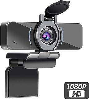 Dericam Cámara Web 1080P con micrófono y Cubierta de privacidad cámara Web USB para computadora cámara Web con transmisión HD para computadora de Escritorio y portátil Lente Gran Angular