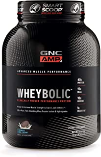 GNC AMP Wheybolic Whey Protein Powder, Cookies and Cream, 25 Servings, Contains 40 Protein, 15g BCAA, and 10g Leucine Per Serving