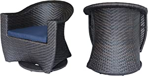 Great Deal Furniture Florence Patio Swivel Chairs, Wicker with Outdoor Cushions, Multi-Brown and Navy Blue (Set of 2)