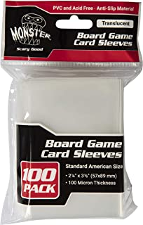 Monster Protectors Clear Board Game Card Sleeves(100 Pack) – Standard American Size (57 x 89mm) Protectors, 100 Micron Thi...