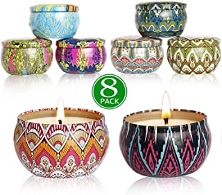 YYHC Aromatherapy Scented Candles Essential Oils Natural Soy Wax Portable Travel Tin Candle Set of 8 Gift 2.5 Ounce tins 160 Hour Burn Long Lasting
