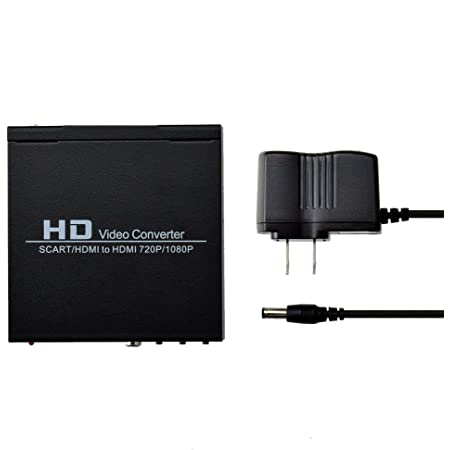 Scart Hdmi to Hdmi Video Converter Box 1080p Scaler 3.5mm Coaxial Audio Output for Game Consoles DVD