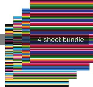 Serape Print HTV, Striped HTV Vinyl, Blue Pink Green & Yellow, 4-12