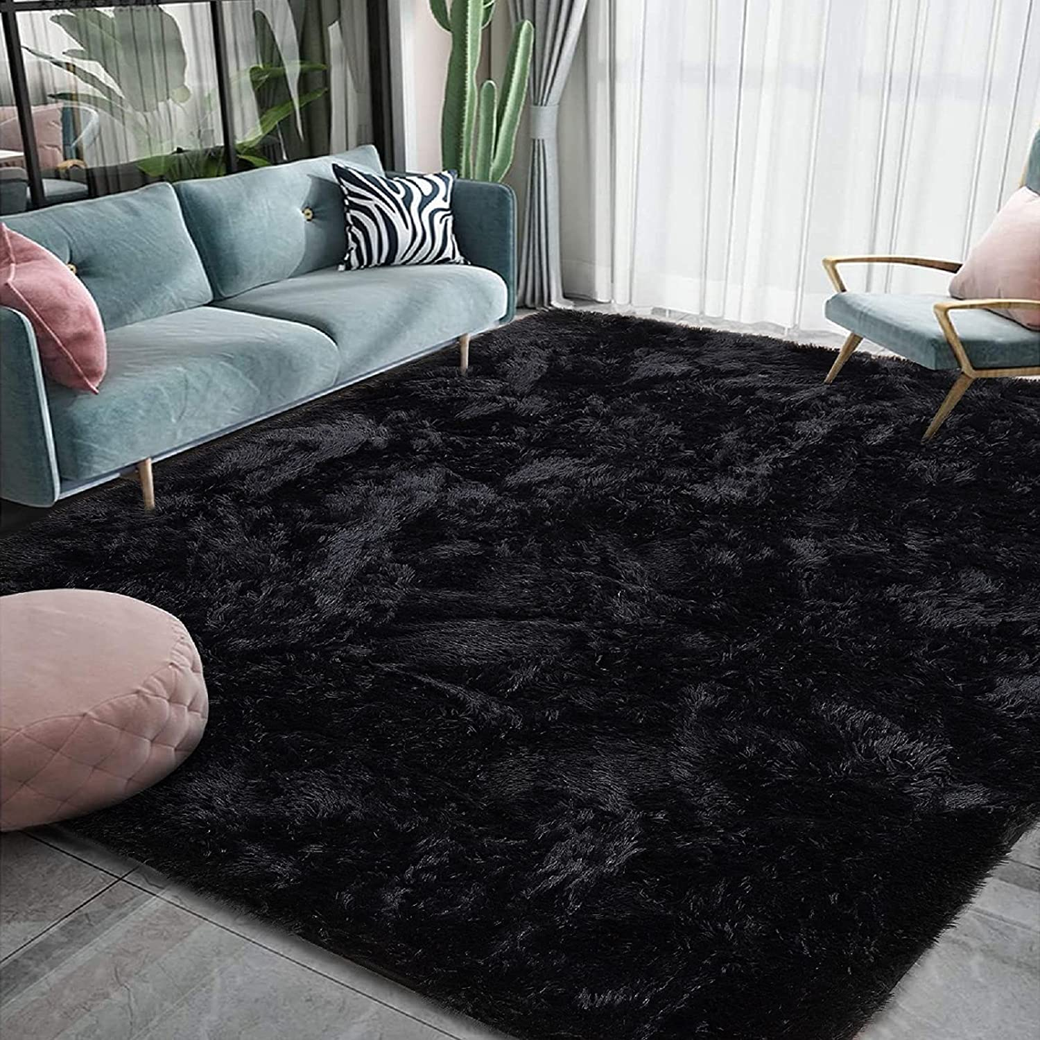 Beauty products Homore Luxury Fluffy Area Rug Modern Genuine Rugs Bedroom Shag Livin for