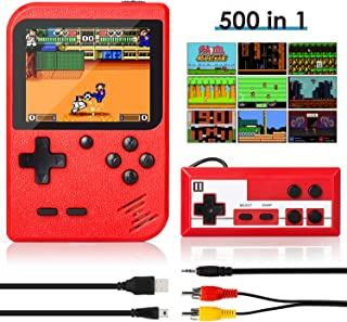 Handheld Game Console, Retro Mini Game Player with 500 Classic FC Games, 3.0 Inch Screen 800mAh Rechargeable Battery Portable Game Console Support TV Connection & Two Players for Kids Adults (Red)
