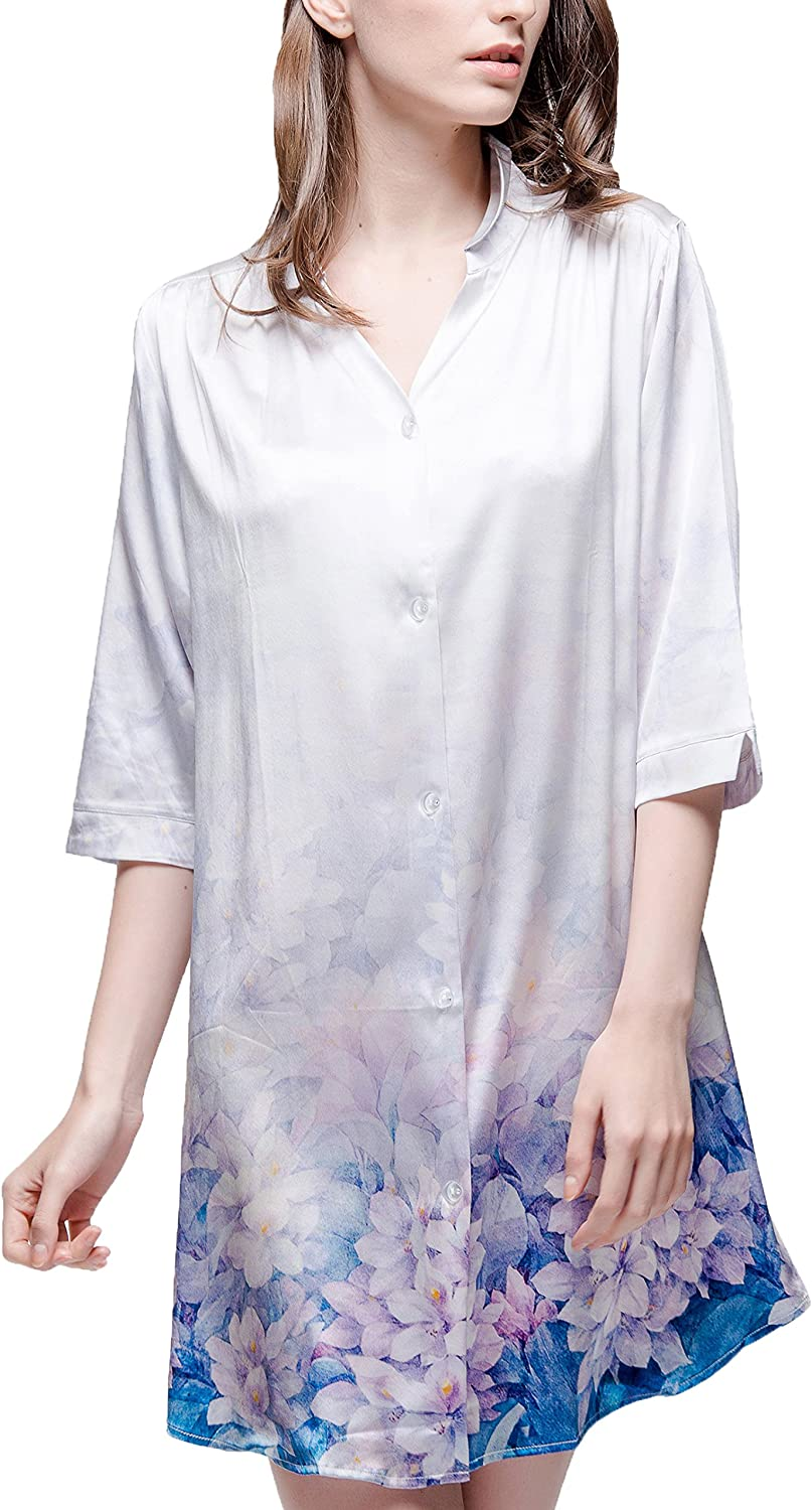 Chesslyre Stretch Mulberry Silk Satin Sleepshirt Loose Casual Lounge Wear for Women