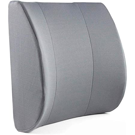 DMI Lumbar Support Pillow for Chair to Assist with Back Support with Removable Washable Cover and Firm Insert to Ease Lower Back Pain while Improving Posture, 14 x 13 x 5, Contoured Foam, Elite, Gray