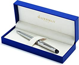 Waterman Expert Ballpoint Pen, Stainless Steel with Chrome Trim, Medium Nib with Blue Ink Cartridge, Gift Box