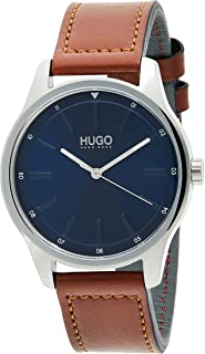 HUGO by Hugo Boss Men's Year-Round Stainless Steel Quartz Watch with Leather Strap, Brown, 20 (Model: 1530029)