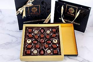 Sleek Assorted Black & Gold Chocolate Gift Box - Gianduja, Hazelnut Praline, Cappuccino, Caramel, Almond Croquant, Almond ...