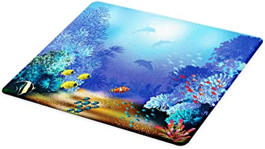 Lunarable Underwater Cutting Board, Underwater Coral Reef Polyps Algae Dolphins and Goldfishes Bubbles in Deep Ocean Print, Decorative Tempered Glass Cutting and Serving Board, Small Size, Blue