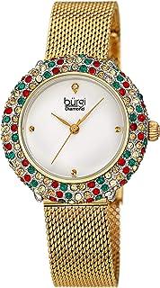 Swarovski Colored Crystal Women's Watch - A Genuine Diamond Marker - Stainless Steel Mesh Bracelet Wristwatch - BUR258