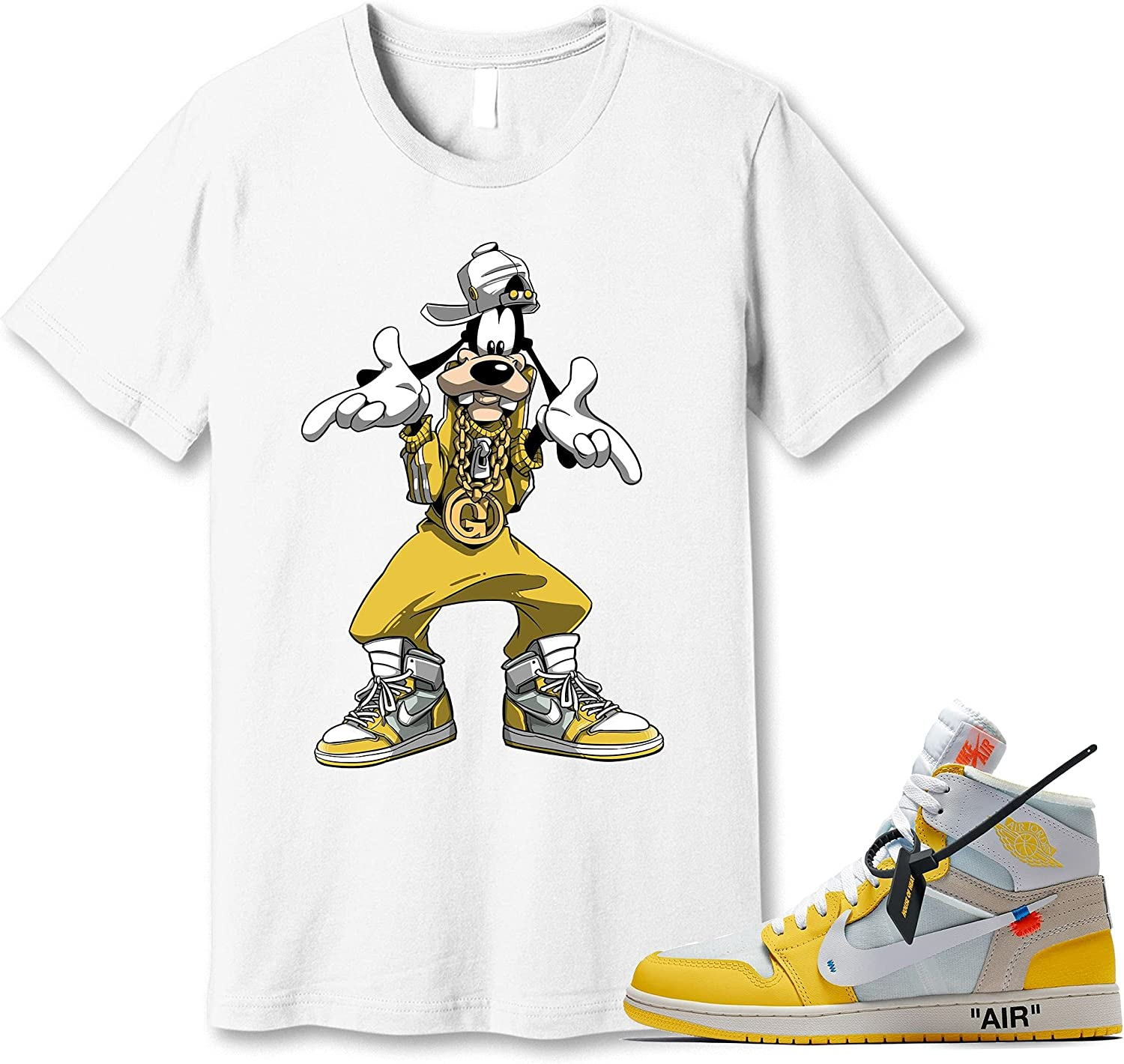 #Goofy White T-Shirt Free Shipping New to Match Jordan 1 Sneaker Snk Free Shipping New Canary Yellow
