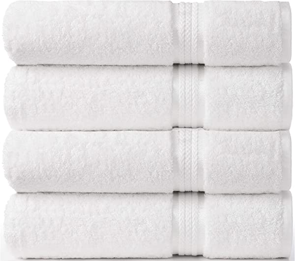 Cotton Craft Ultra Soft 4 Pack Oversized Extra Large Bath Towels 30x54 White Weighs 22 Ounces 100 Pure Ringspun Cotton Luxurious Rayon Trim Ideal For Everyday Use Easy Care Machine Wash