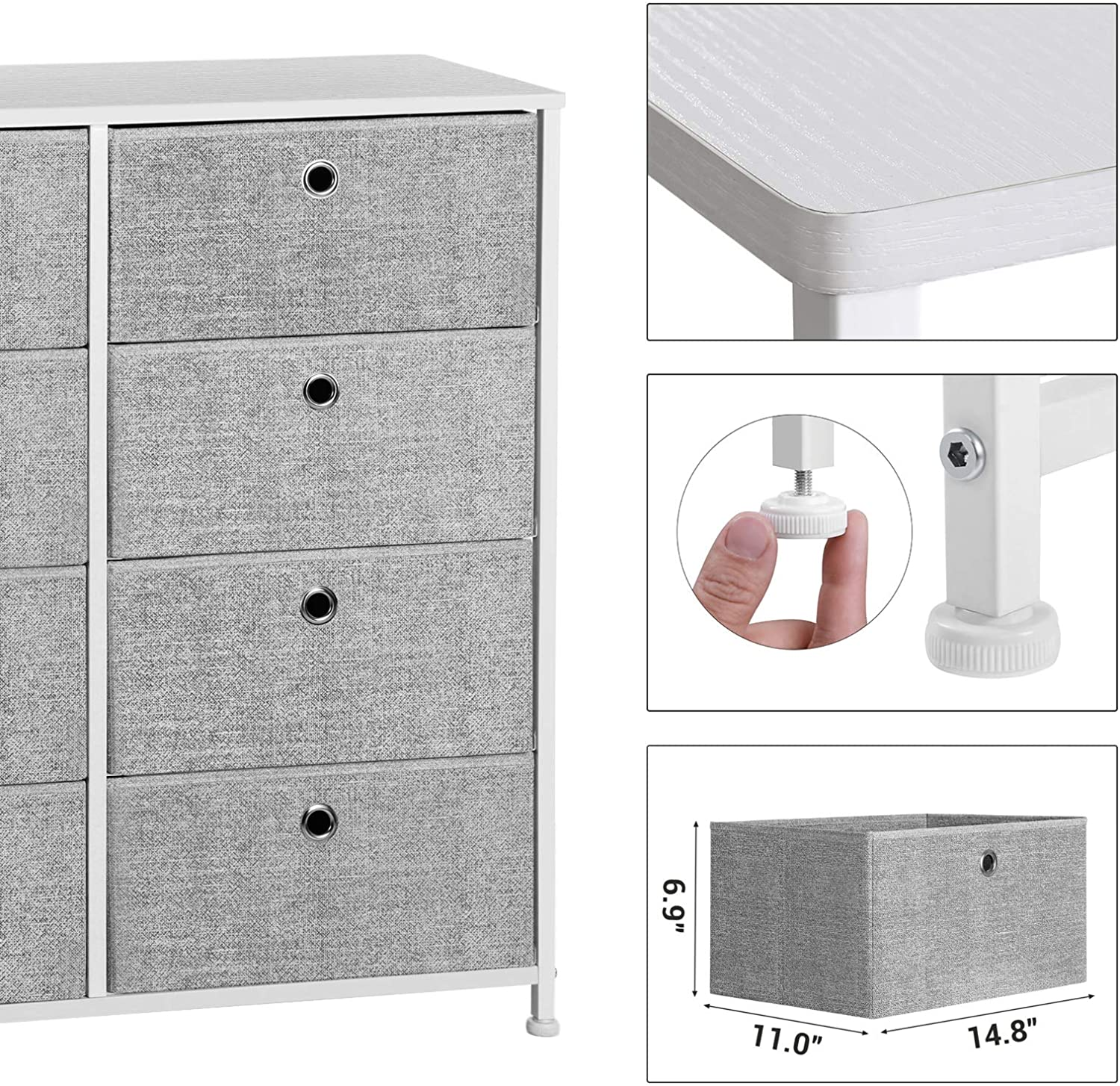 SONGMICS 4-Tier Storage Dresser with 8 Easy Pull Fabric Drawers and Wooden Tabletop for Closets, Nursery, Dorm Room, Light Gray and White ULTS24W