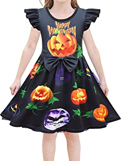 Heneray Kids Girls Halloween Costume Casual Dress Witch Hat Bat Pumpkin Printed Cosplay Party Outfits