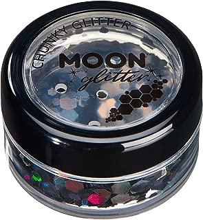 Brillo Holográfico Grueso por Moon Glitter – 100% Brillo Cosmético para la Cara, Cuerpo, Uñas, Cabello y Labios - 3g - Negro