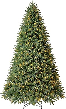 Evergreen Classics 7.5 ft Pre-Lit Frasier Fir Quick Set Artificial Christmas Tree, Remote-Controlled Color-Changing LED Light