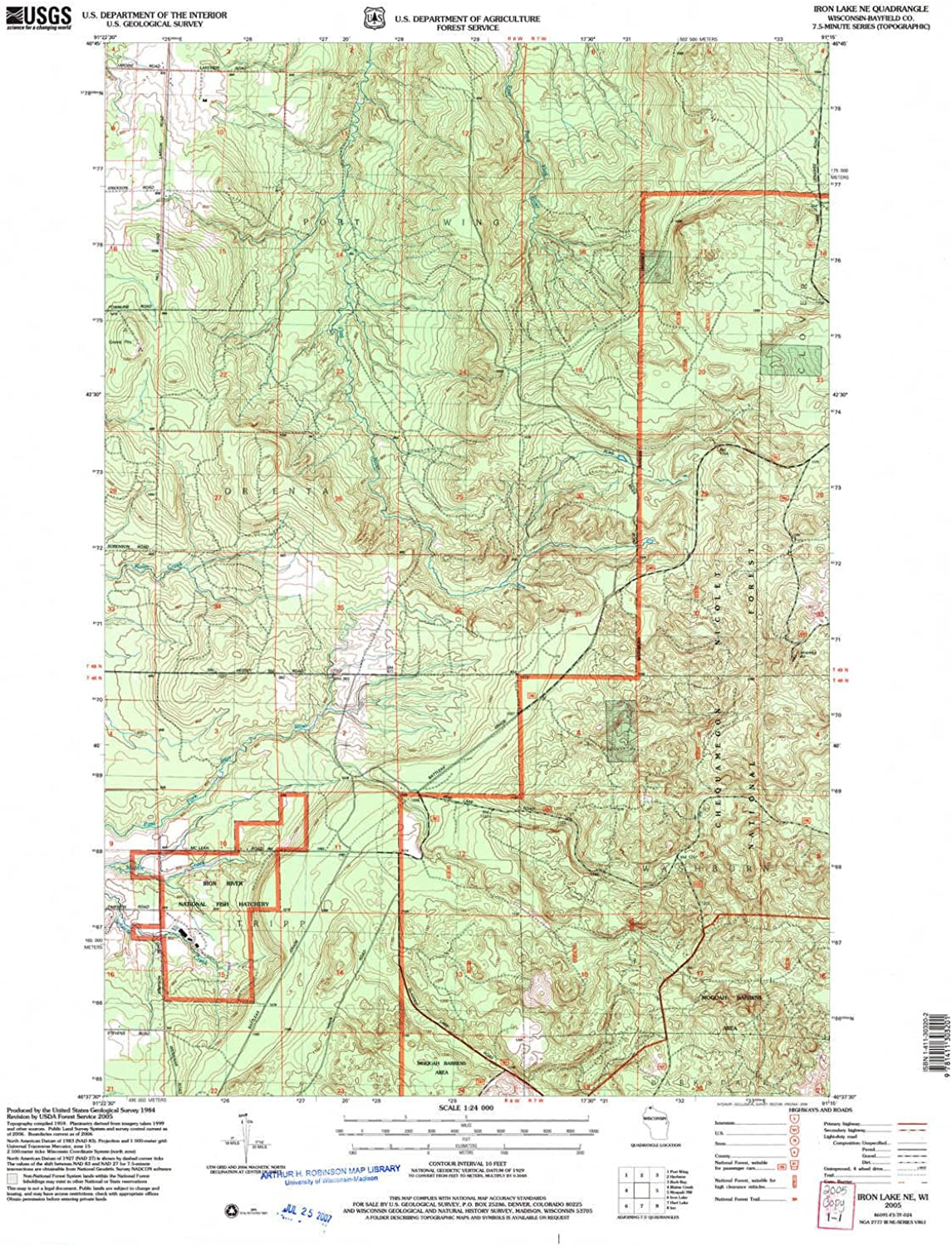 Iron Lake NE WI topo map, 1 24000 Scale, 7.5 X 7.5 Minute, Historical, 2005, Updated 2006, 27.4 x 22.1 in