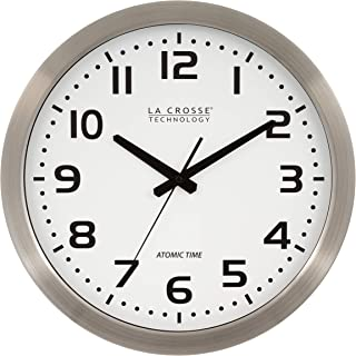 La Crosse Technology 16 Inch Stainless Steel Atomic Clock - White Dial 16