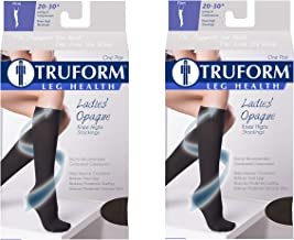 Truform Women's Compression 20-30 mmHg Knee High Stockings Black, Small, 2 Count