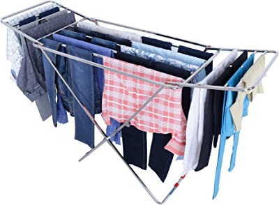 LiMETRO Steel Stainless Steel Clothes Drying Stand Foldable Cloth Racks for Drying Clothes (Bed)