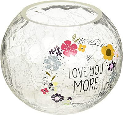 """Pavilion Gift Company Love Floral Round Candle, 5 Inch Included 5"""" Crackled Glass Tealight Holder"""